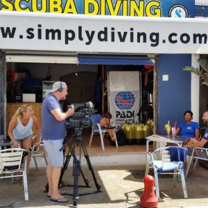 "Filming for Channel 4's ""A New Life In The Sun"" at the Marbella dive centre"